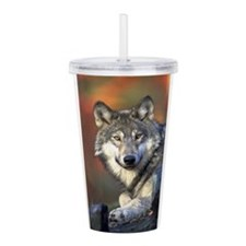 Cute Wolf Acrylic Double-wall Tumbler