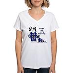 Cartoon cat Women's V-Neck T-Shirt