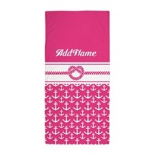 Custom Pink Anchors Rope Beach Towel