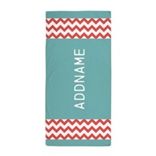 Orange Turquoise Chevron Personalized Beach Towel