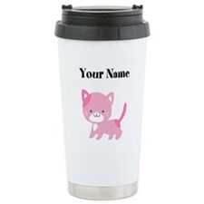 Personalized Pink Cat Travel Mug