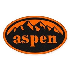 Aspen Hand Draw Orange Sticker (oval)