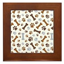 Dog Paw Prints Pattern Framed Tile