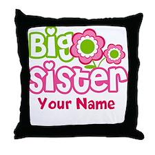Custom Big Sister Pink Green Throw Pillow
