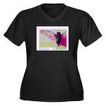 Cicada S Couture Women's Plus Size V-Neck Dark T-S
