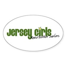 Jersey Girls Make Better Surfers Oval Decal
