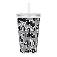 GREY BLACK 40 Birthday Acrylic Double-wall Tumbler