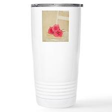 Three pink rose stems l Travel Coffee Mug