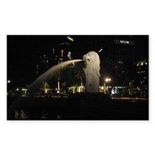 The Singapore Merlion At Night Sticker (Rectangula