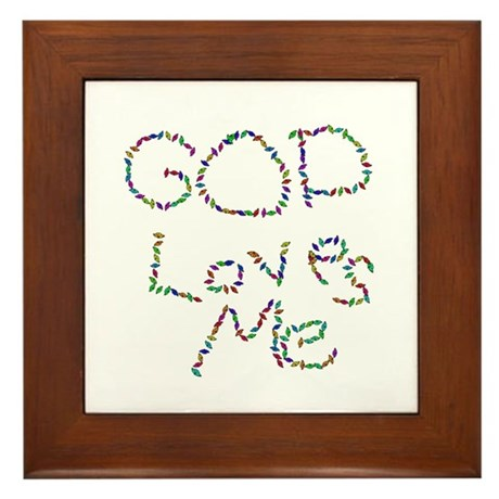 God Loves Me Framed Tile