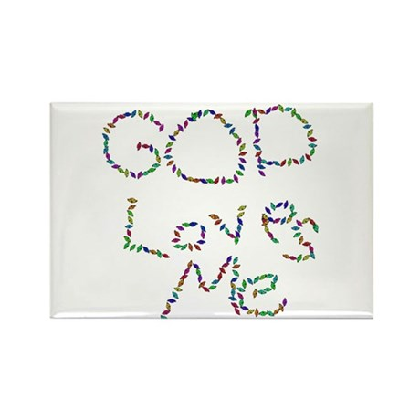 God Loves Me Rectangle Magnet (100 pack)