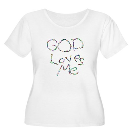 God Loves Me Women's Plus Size Scoop Neck T-Shirt