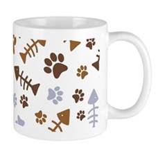 Cat Paw Prints Pattern Small Mugs