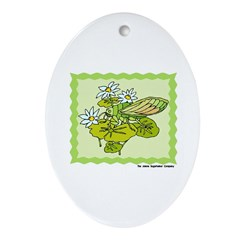 Dainty Cicada Oval Ornament