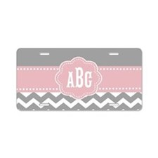 Gray Pink Chevron Monogram Aluminum License Plate