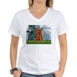 Lilies and Ruby Cavalier Women's V-Neck T-Shirt