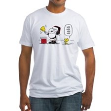 Santa Snoopy and Woodstock Fitted T-Shirt