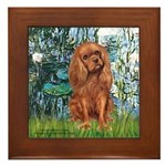 Lilies and Ruby Cavalier Framed Tile