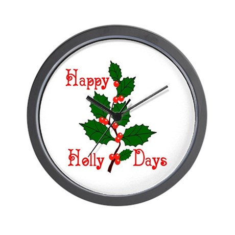 Happy Holly Days Wall Clock