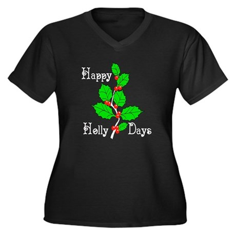 Happy Holly Days Women's Plus Size V-Neck Dark T-S