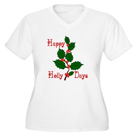 Happy Holly Days Women's Plus Size V-Neck T-Shirt