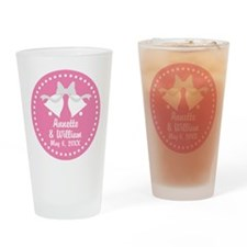 Pink Wedding Bells personalized Drinking Glass