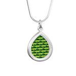 Crocodile Alligator Jung Silver Teardrop Necklace