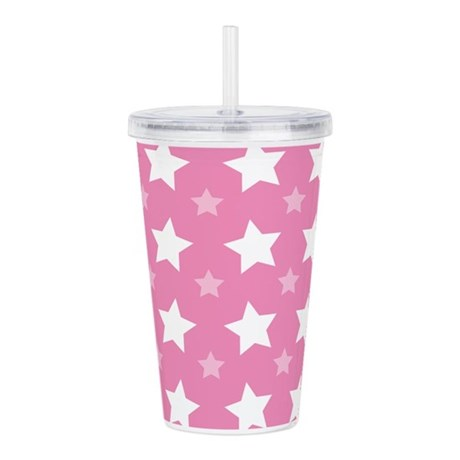 Pink Star Pattern Acrylic Double-wall Tumbler