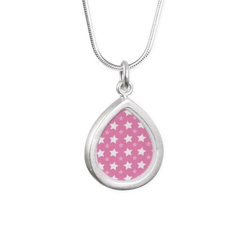 Pink Star Pattern Silver Teardrop Necklace