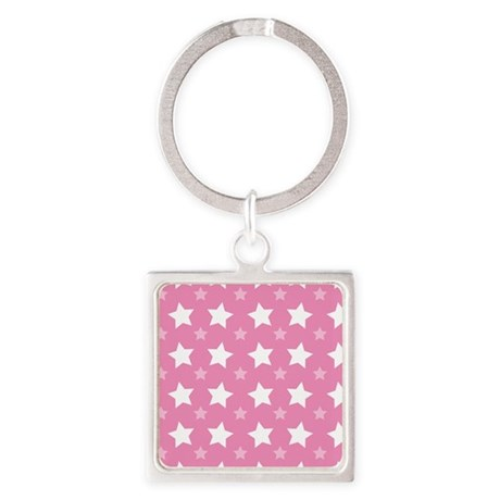 Pink Star Pattern Square Keychain