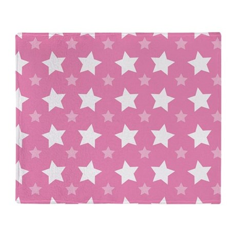 Pink Star Pattern Throw Blanket