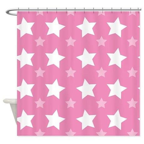 Pink Star Pattern Shower Curtain