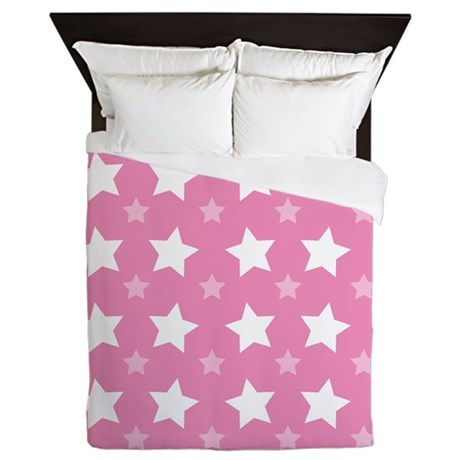 Pink Star Pattern Queen Duvet
