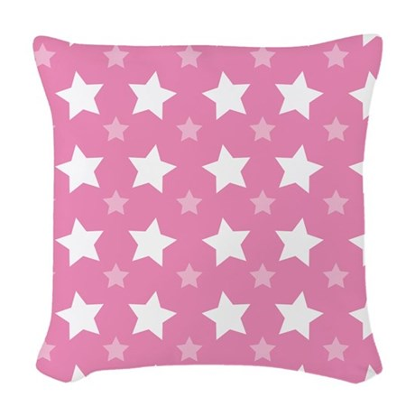 Pink Star Pattern Woven Throw Pillow
