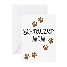 Paw Prints Schnauzer Mom Greeting Cards (Package o