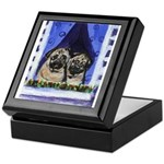 Pugs in window Keepsake Box