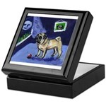 Pug sees smiling moon Keepsake Box