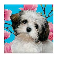 Havanese Dog Magnolia Blossoms Tile Coaster