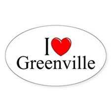 """I Love Greenville"" Oval Decal"