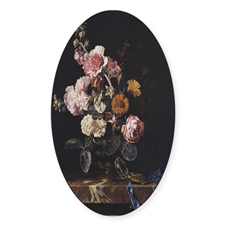 Floral Still Life Oval Sticker