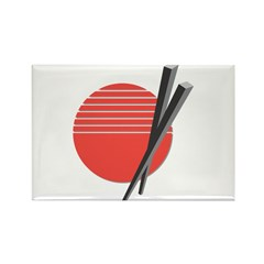 Oriental Chopsticks Design Rectangle Magnet (10 pa