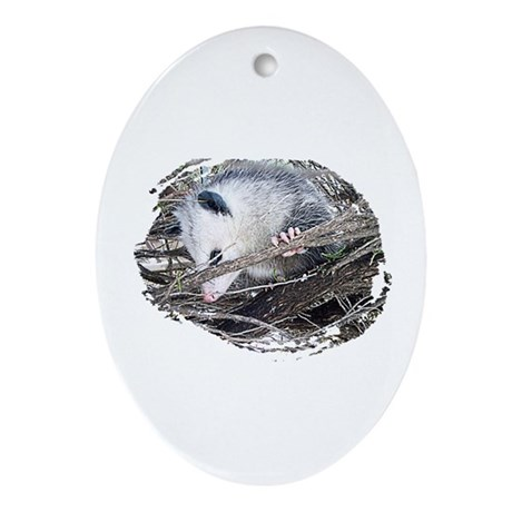 Peek-a-Boo Possum Oval Ornament