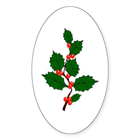 Holly Oval Sticker