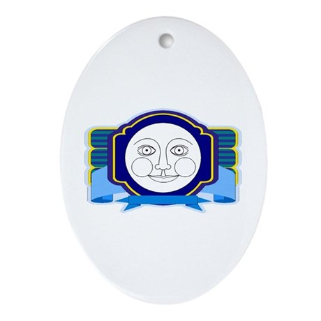 Blue Moon Face Oval Ornament