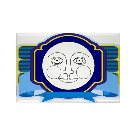 Blue Moon Face Rectangle Magnet