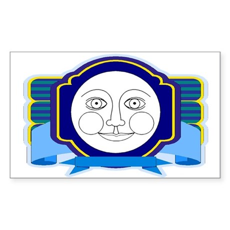 Blue Moon Face Rectangle Sticker
