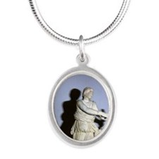 Artemis with bow. Classical G Silver Oval Necklace