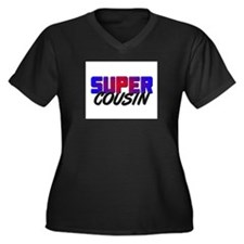 SUPER COUSIN Women's Plus Size V-Neck Dark T-Shirt