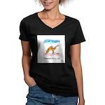 Cat Yoga Women's V-Neck Dark T-Shirt