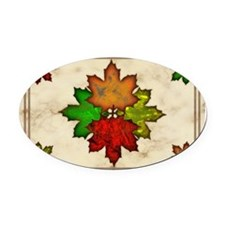 Fall Leaves Oval Car Magnet